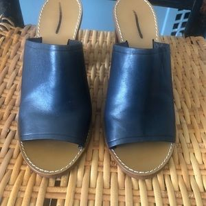 J Crew Marlow Mules Size 7 navy #b7906